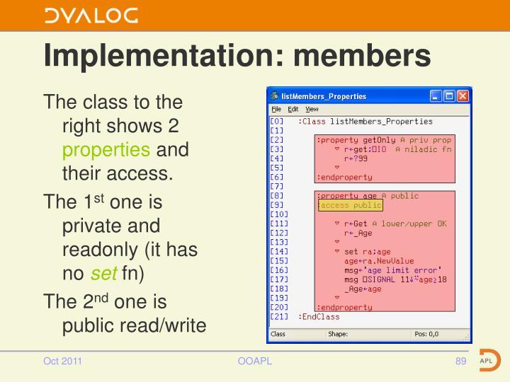 Implementation: members