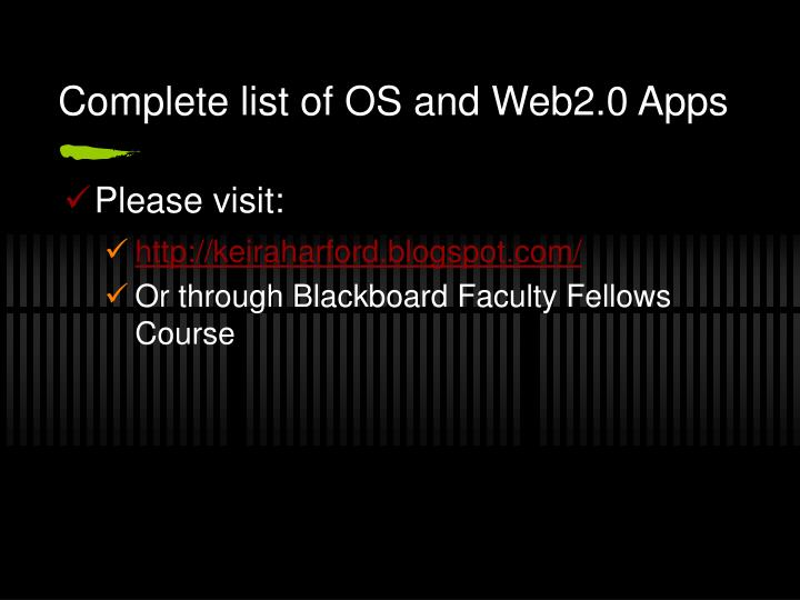 Complete list of OS and Web2.0 Apps