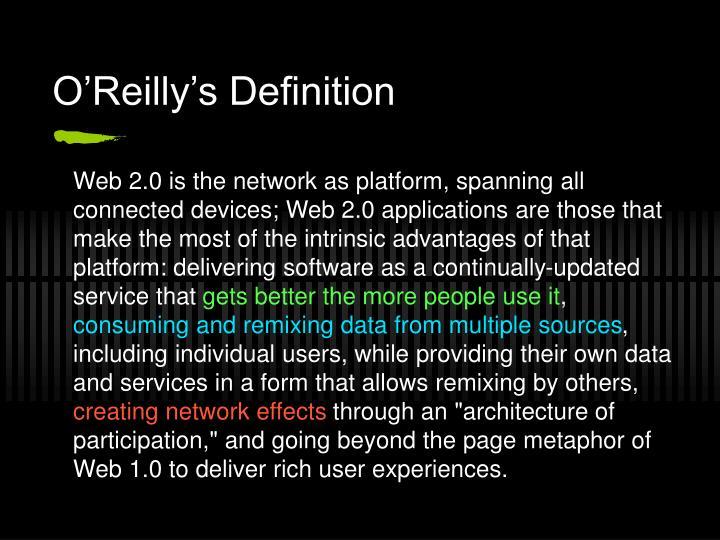 O'Reilly's Definition