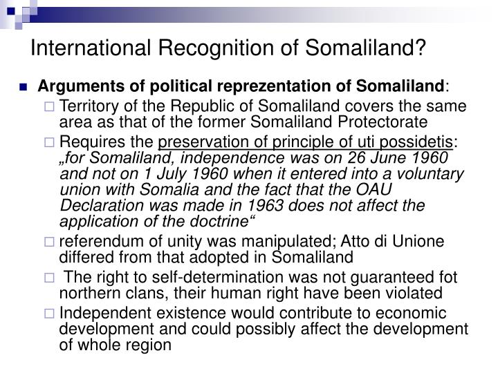 International Recognition of Somaliland?