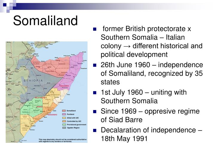 former British protectorate x Southern Somalia – Italian colony → different historical and political development