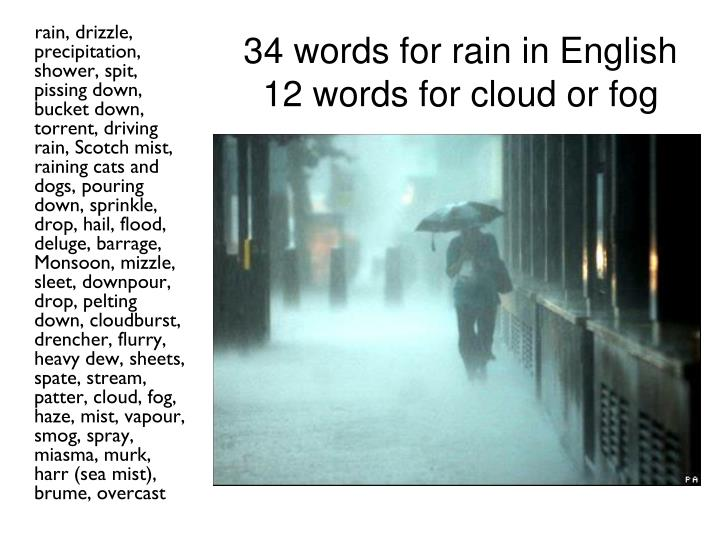 34 words for rain in english 12 words for cloud or fog