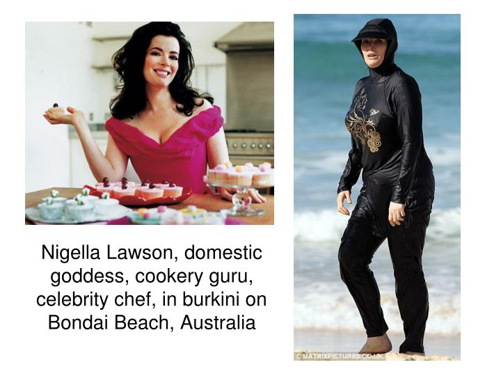 Nigella Lawson, domestic goddess, cookery guru, celebrity chef, in burkini on Bondai Beach, Australia