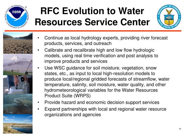 RFC Evolution to Water Resources Service Center