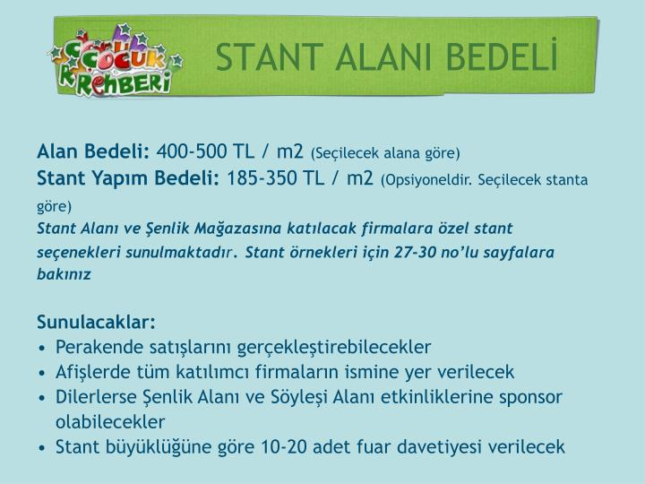 STANT ALANI BEDELİ