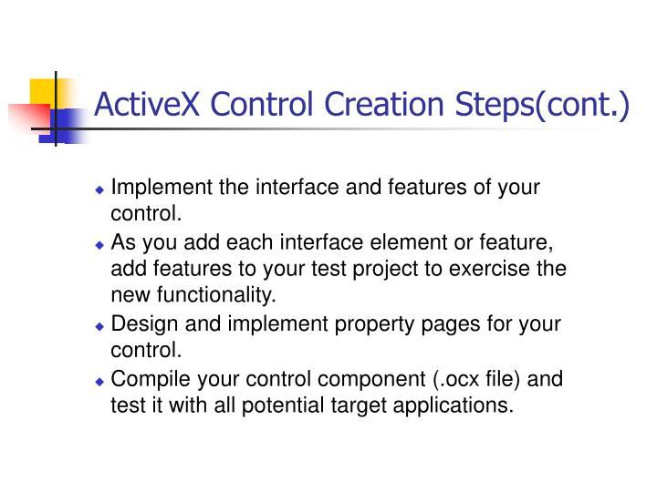 ActiveX Control Creation Steps(cont.)