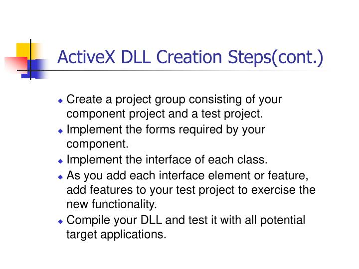 ActiveX DLL Creation Steps(cont.)