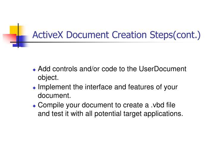ActiveX Document Creation Steps(cont.)