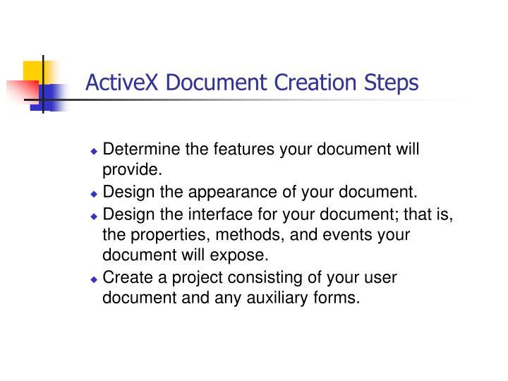 ActiveX Document Creation Steps