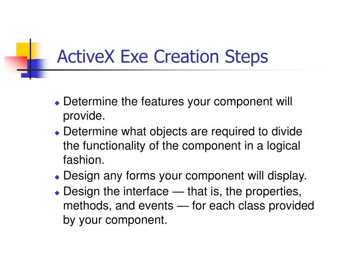 ActiveX Exe Creation Steps