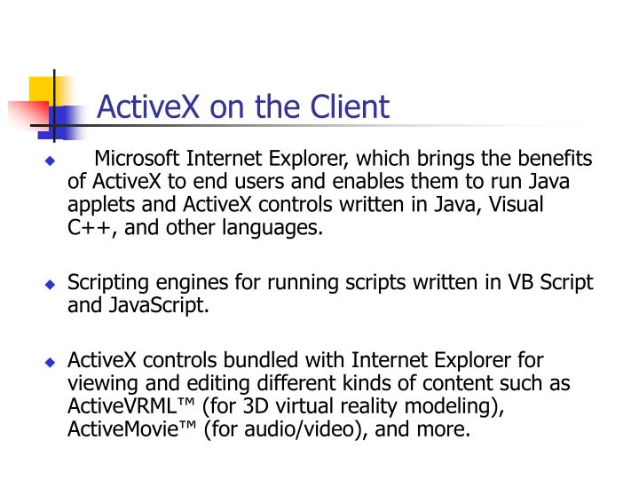 ActiveX on the Client