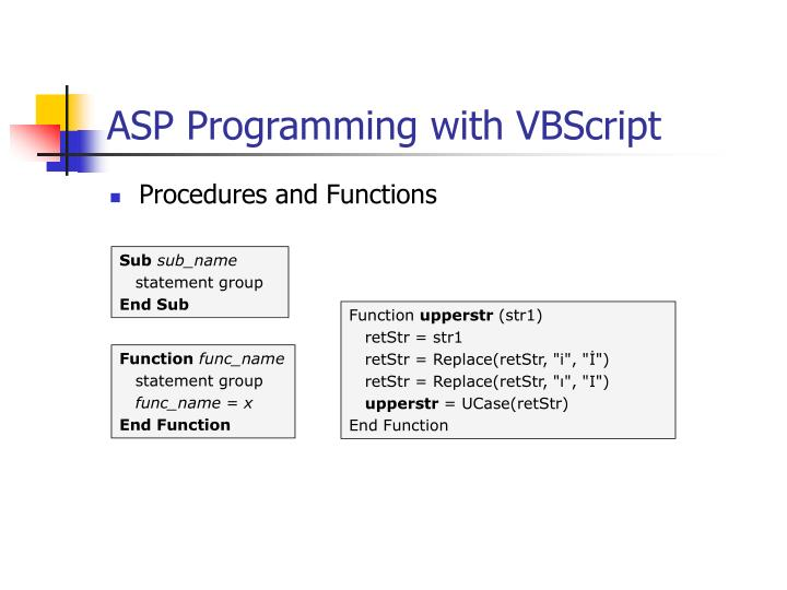 ASP Programming with VBScript