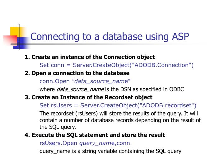 Connecting to a database using ASP