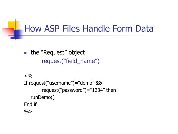 How ASP Files Handle Form Data