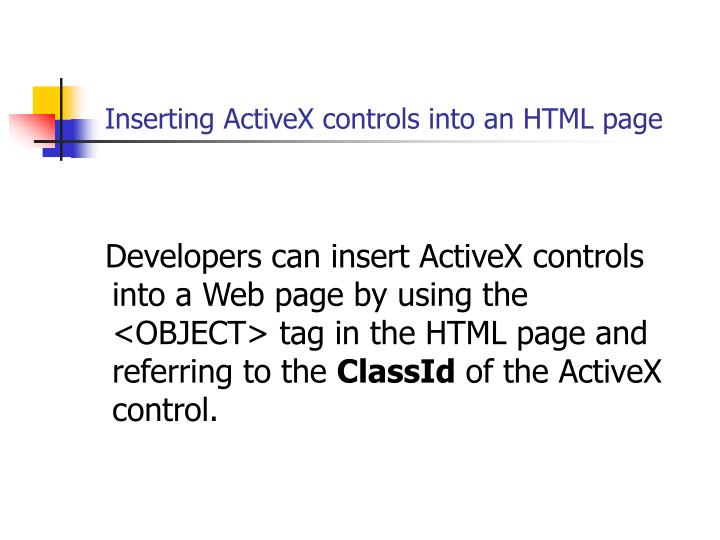 Inserting ActiveX controls into an HTML page