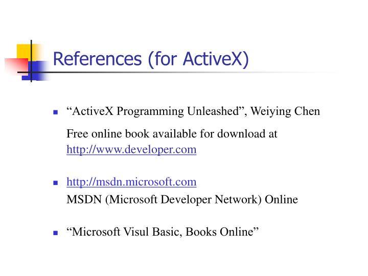 References (for ActiveX)