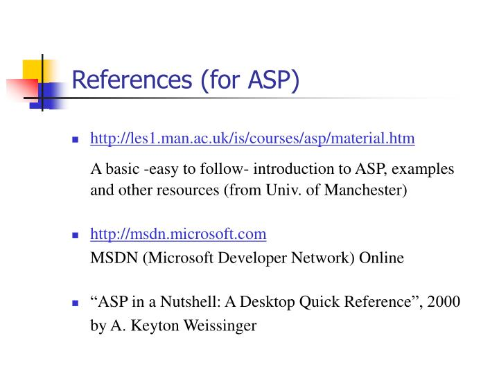 References (for ASP)