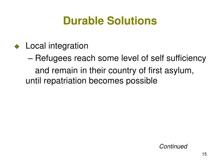 Durable Solutions