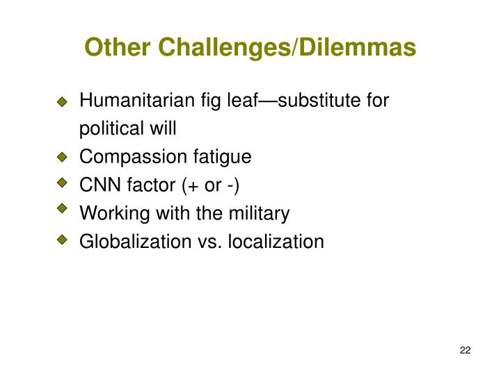 Other Challenges/Dilemmas