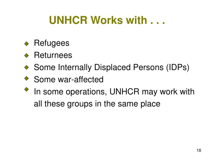 UNHCR Works with . . .