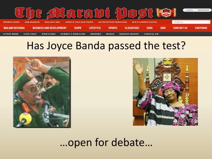 Has Joyce Banda passed the test?