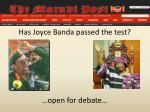 has joyce banda passed the test