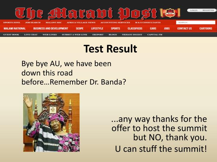 Bye bye AU, we have been down this road before…Remember Dr. Banda?