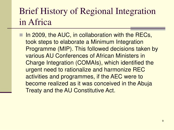 Brief History of Regional Integration in Africa