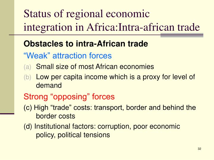 Status of regional economic integration in Africa:Intra-african trade