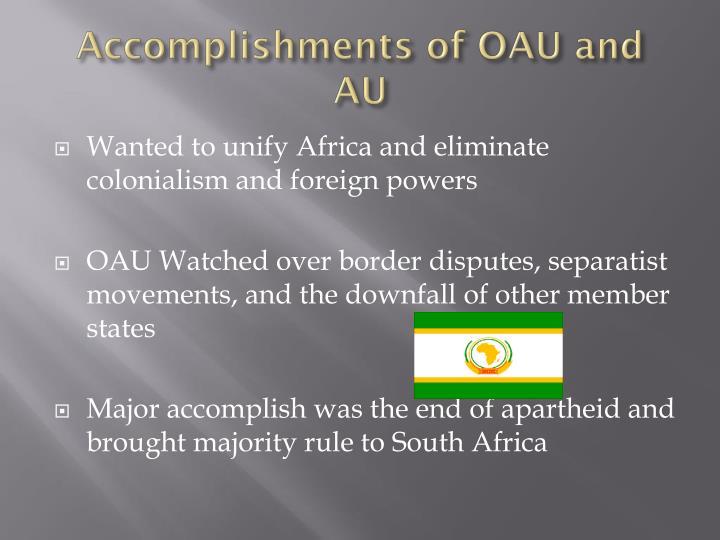 Accomplishments of OAU and AU