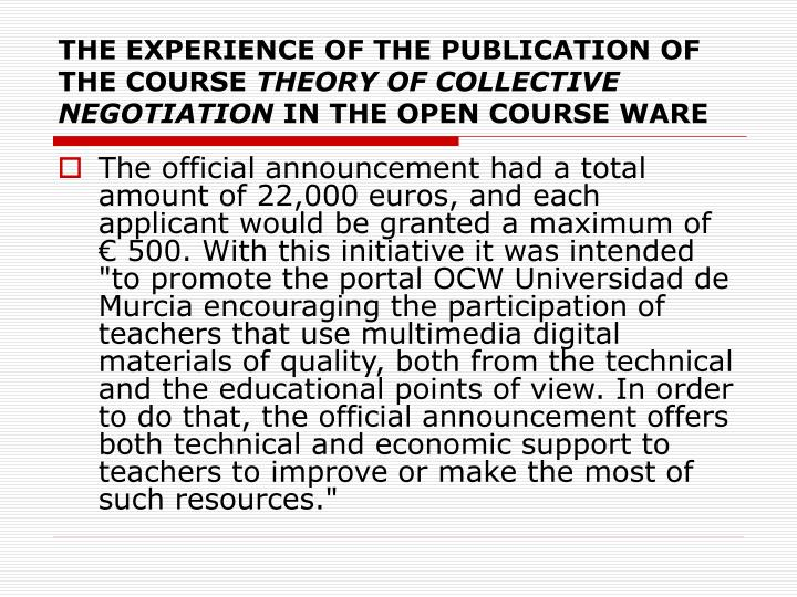 THE EXPERIENCE OF THE PUBLICATION OF THE COURSE