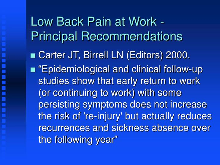 Low Back Pain at Work - Principal Recommendations