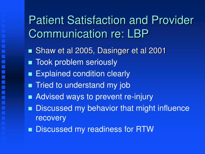 Patient Satisfaction and Provider Communication re: LBP