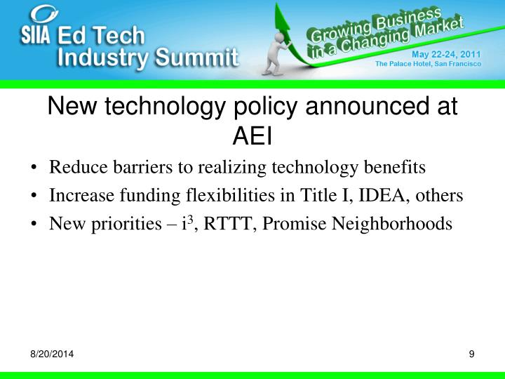 New technology policy announced at AEI