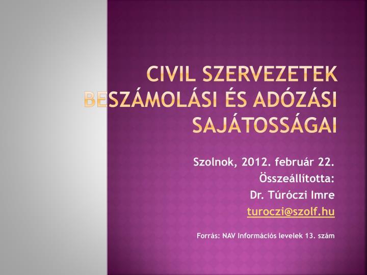Civil szervezetek  beszámolási és adózási sajátosságai