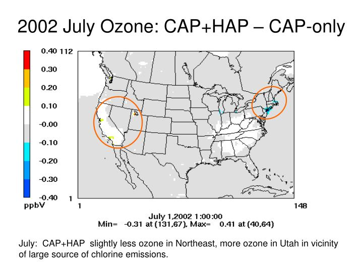 2002 July Ozone: CAP+HAP – CAP-only