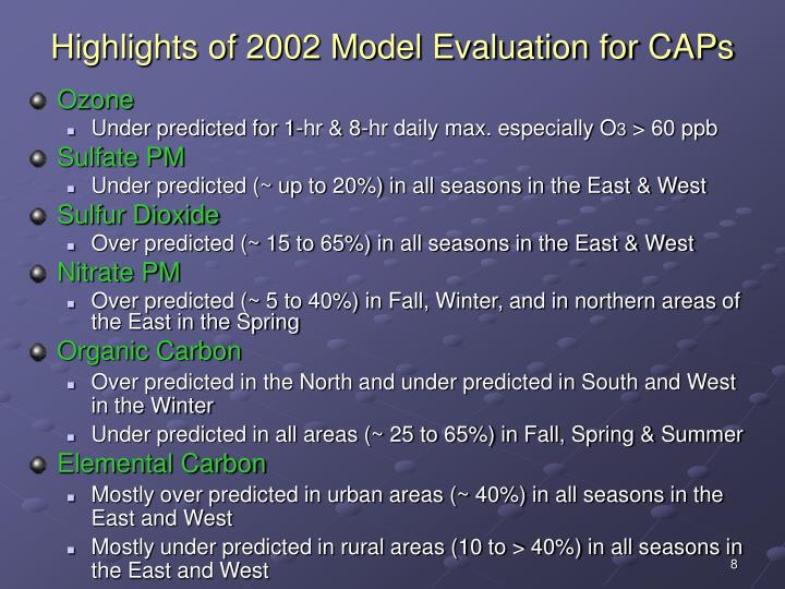 Highlights of 2002 Model Evaluation for CAPs