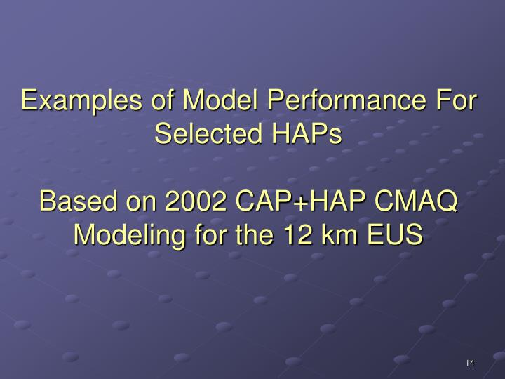 Examples of Model Performance For Selected HAPs