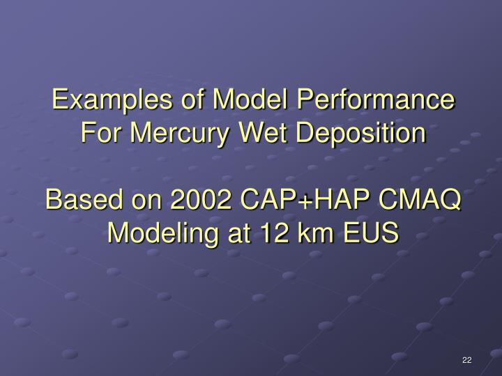 Examples of Model Performance For Mercury Wet Deposition