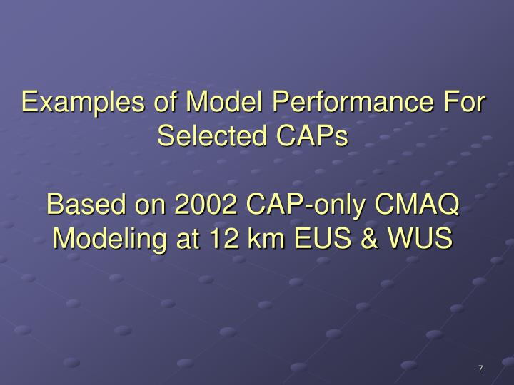 Examples of Model Performance For Selected CAPs