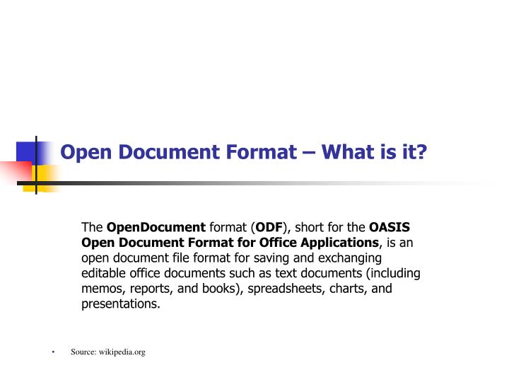 Open document format what is it