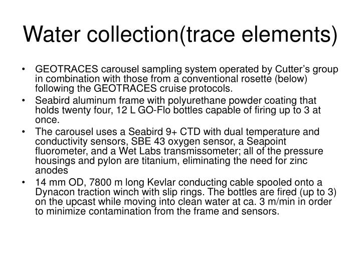 Water collection(trace elements)