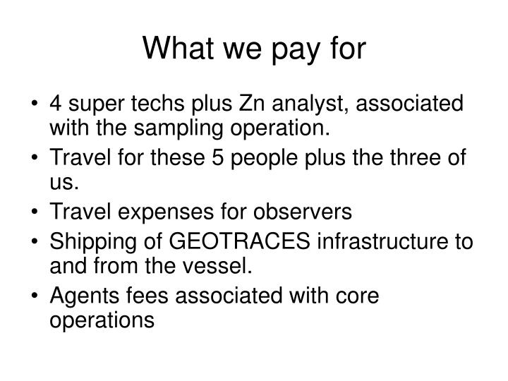 What we pay for