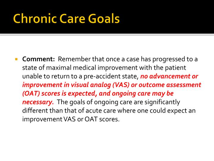 Chronic Care Goals