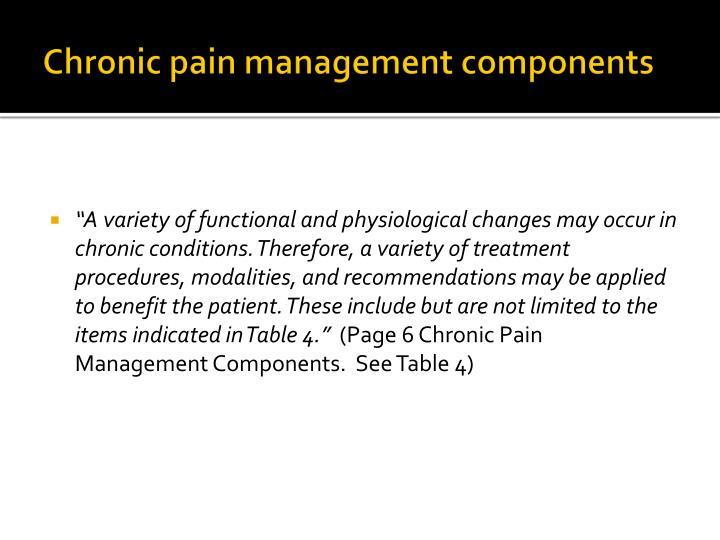 Chronic pain management components