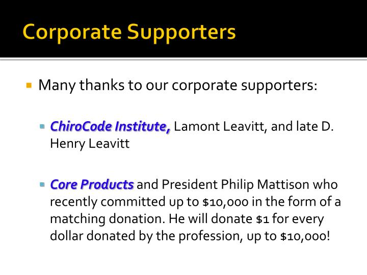 Corporate Supporters