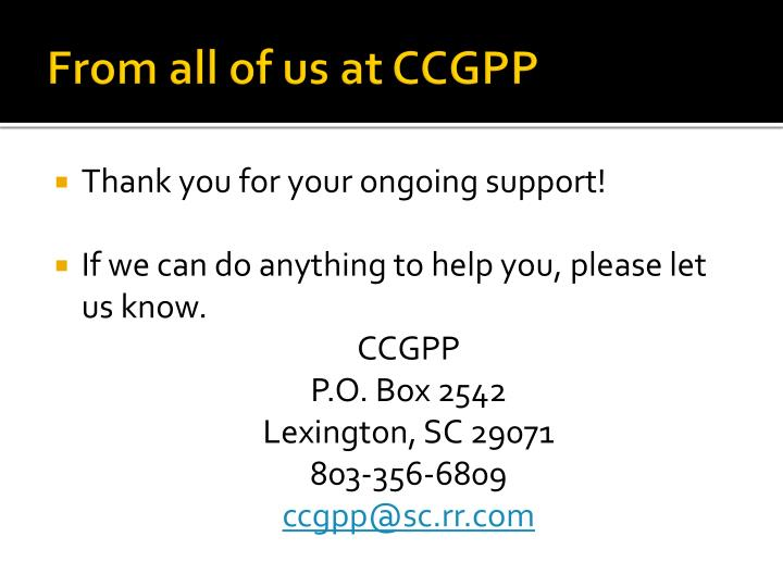 From all of us at CCGPP