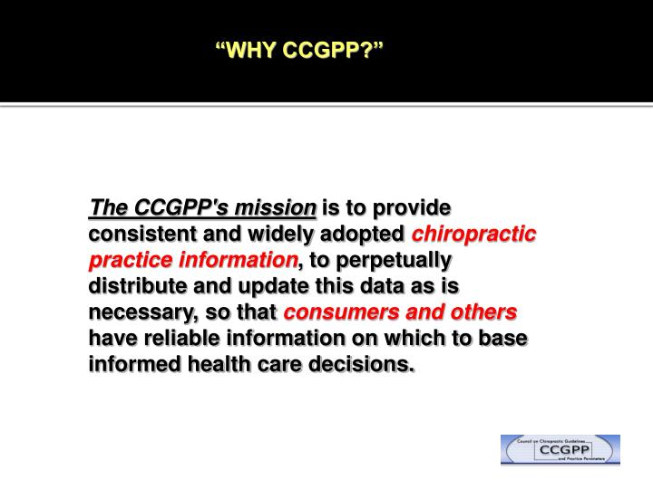 """WHY CCGPP?"""