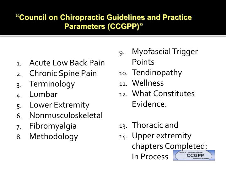"""""""Council on Chiropractic Guidelines and Practice Parameters (CCGPP)"""""""