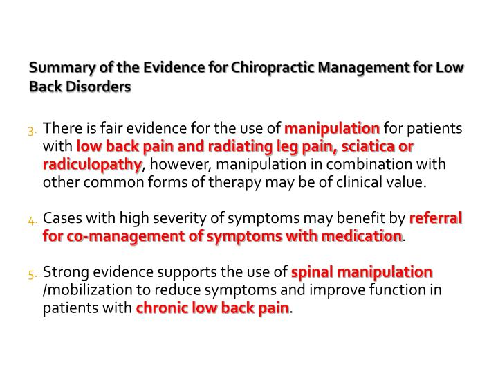Summary of the Evidence for Chiropractic Management for Low Back Disorders